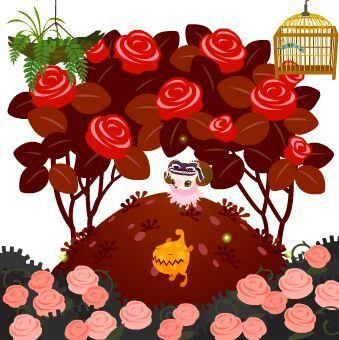 今週のヤミSHOP「バラのオブジェ薄紅・桃・赤」、前景アイテムの「ピンクローズの茂み」、「割れた植木鉢A」