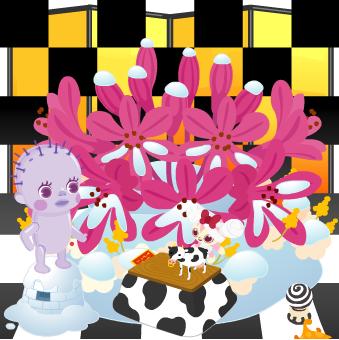 今週のヤミーSHOP「ジオラマ人形・ホルスタイン」「豆コタツ2009」「プニ壷」「ちっちゃい島2」「市松模様の壁紙・黒」